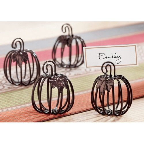 Wire Pumpkin Cardholder (Set of 4) Pleasant pumpkins add the spirit of the season to your table. Crafted from bronzed wire, this set of 4 Halloween cardholders comes with 8 blank cards for writing the names of your guests. A great addition to your Halloween dinnerware. Packaged in an attractive gift box, this set makes a great hostess gift.