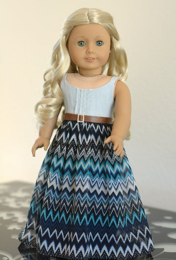 Doll Clothes: Denim and Chiffon Maxi Dress by RoyalDollBoutique