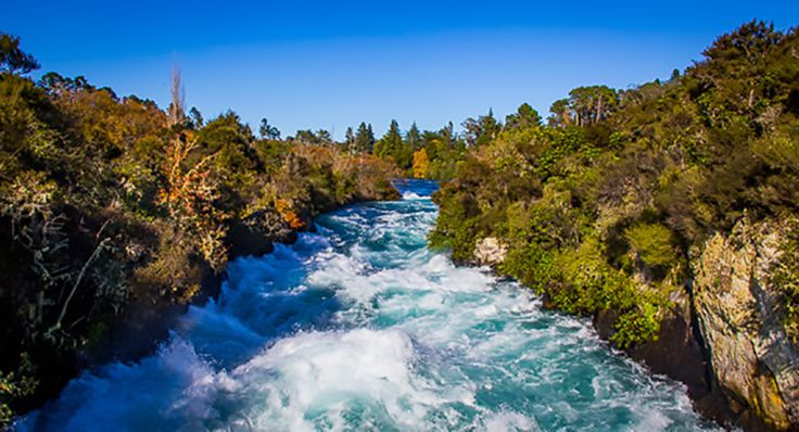Huka Falls Taupo, central North Island of New Zealand. A must see on a Campervan holiday in New Zealand