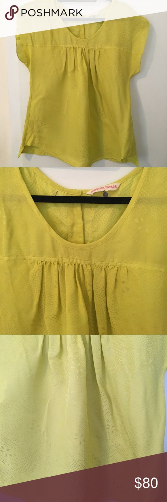 Rebecca Taylor Silk Yellow Short Sleeve Top Rebecca Taylor Yellow silk short sleeve blouse. Size 4. Like new condition. Beautiful subtle print. Rebecca Taylor Tops Blouses