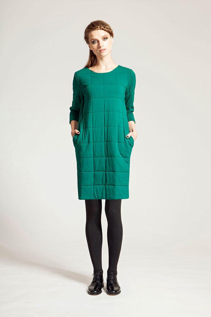 IMRECZEOVA FW16 emerald green quilted dress
