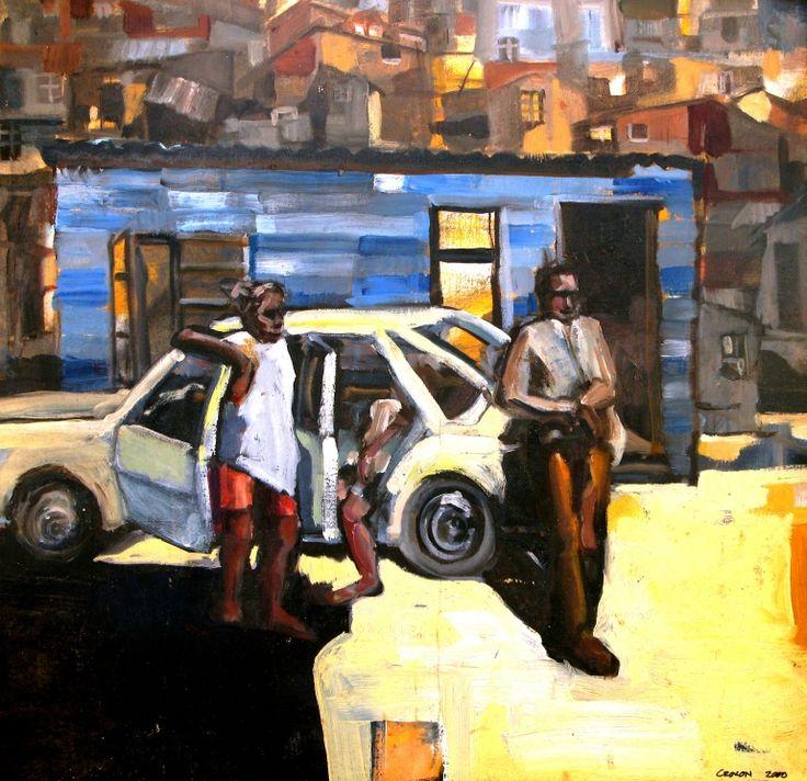 Township Scene  Oil - Framed     -  R 4500 -                           400 x 500 mm