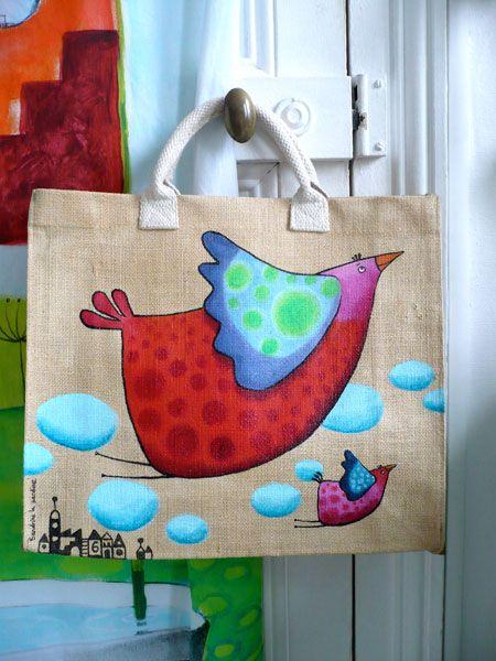 acrylique sur toile de jute.  Faire un turc comme ça avec mes 2 sacs mais pas ce genre un peu niais.
