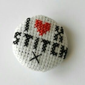 Button, I <3 cross stitch