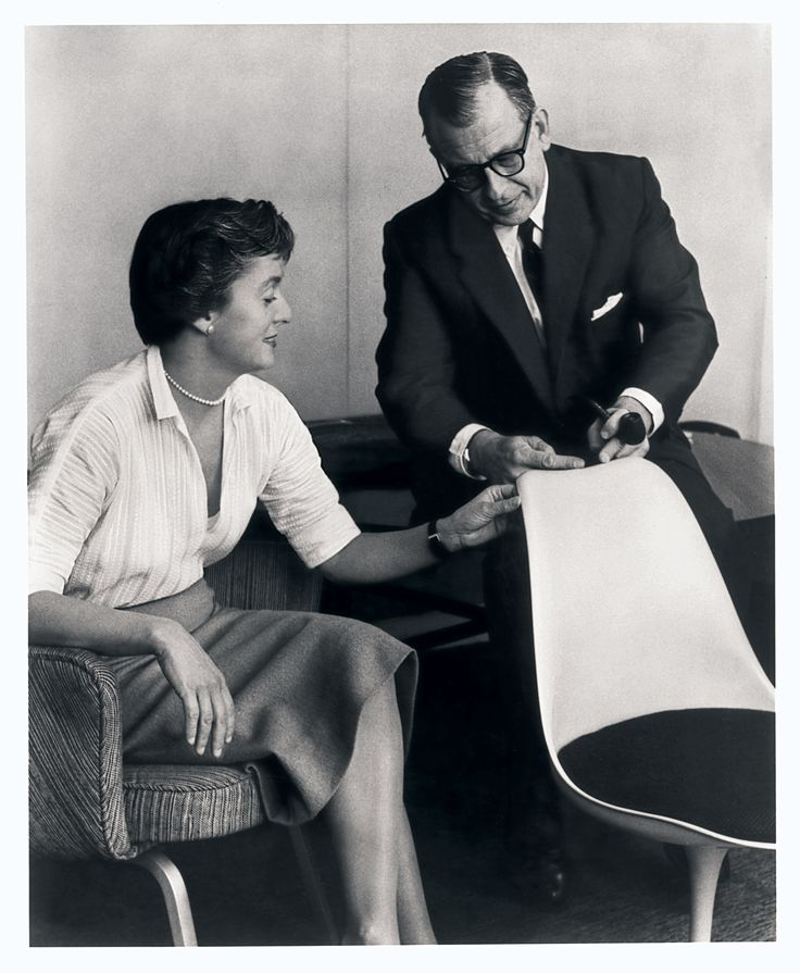 Eero Saarinen put everyday life on a pedestal. Here he is with Florence Knoll and his iconic Tulip Chair.