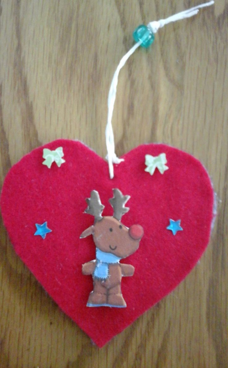 A set of two felt hanging Christmas decorations with Reindeer and Santa Claus by Bubucraft on Etsy
