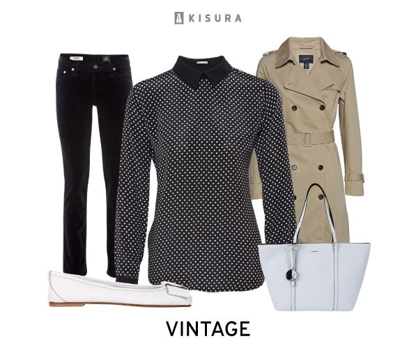 gepunktete Bluse, Skinny-Jeans, Trenchcoat, Ballerinas, Tasche // dotted blouse, skinny jeans, trenchcoat, flats, handbag