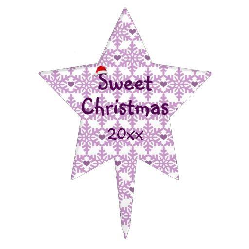 Sweet Christmas snowflake heart pattern in purple-lavender color / Cake Topper - Custom date! #fomadesign