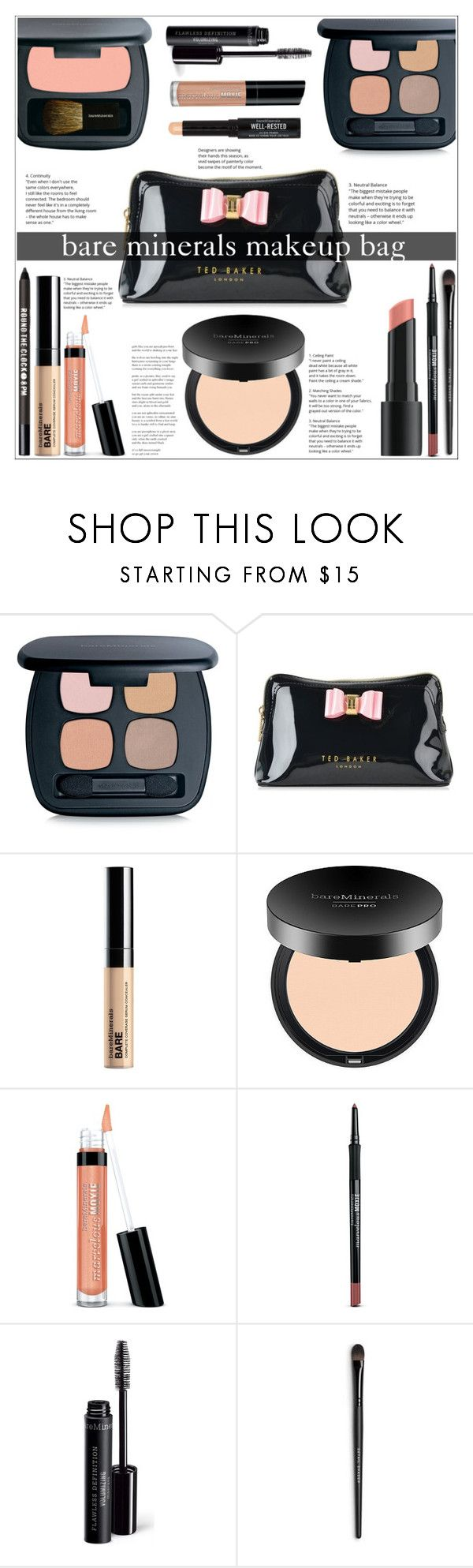"""""""Bare Minerals Makeup Bag"""" by jungshook ❤ liked on Polyvore featuring beauty, Bare Escentuals and Ted Baker"""