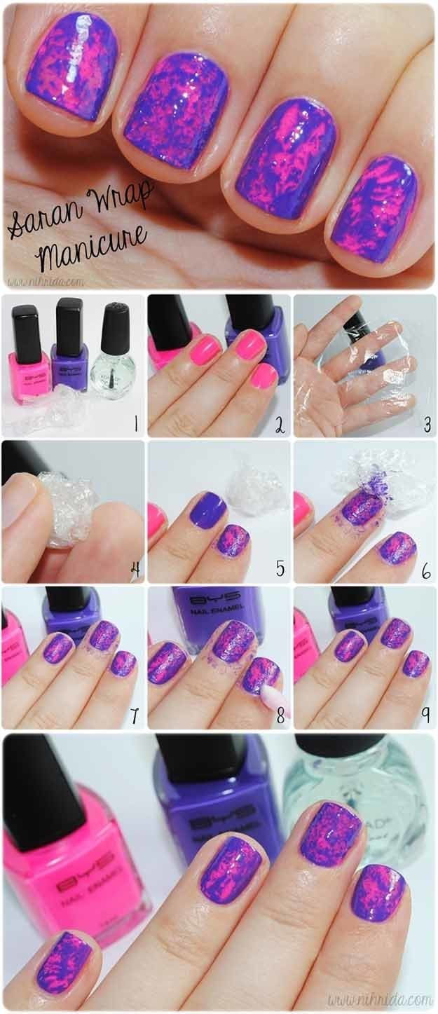 Saran Wrap Mani | Easy and Cute Nail Art For Beginners by Makeup Tutorials http://makeuptutorials.com/easy-nail-art-designs-ideas/