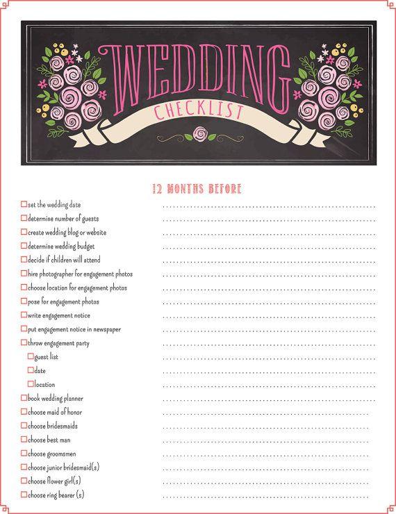 Wedding Checklist - Wedding Planning Checklist 12-Month Printable PDF - BEST SELLER!