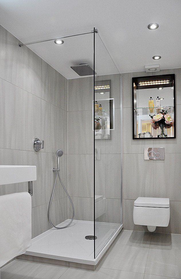 Kleines Bad Dusche Graue Fliesen Matt Duscheabtren Bad