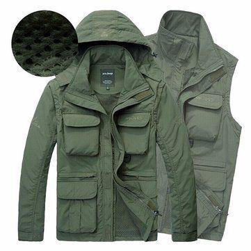 AFSJEEP Men Outdoor Casual Multi-functional Water Repellent Windproof Quick-drying Mesh Jacket Vest