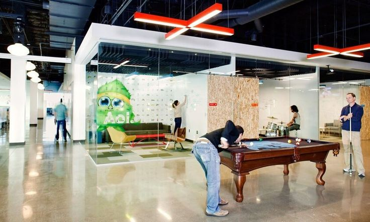 AOL - with offices like these, why would you wanna be anywhere else? Glass-walled offices are offset by communal and recreational areas, keeping the space open and unified.