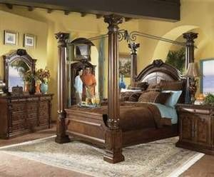 Best Ashley Casa Mollino Collection California King Four Poster Canopy Bed King Bedroom Sets 640 x 480