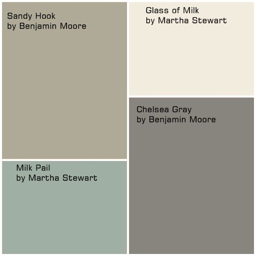 Glass of Milk and Chelsea Gray for cabinet colors, Milk Pail for wall color, and Sandy Hook for family room and hallway? @Jenna Nelson Nelson Nelson Keller Linnell