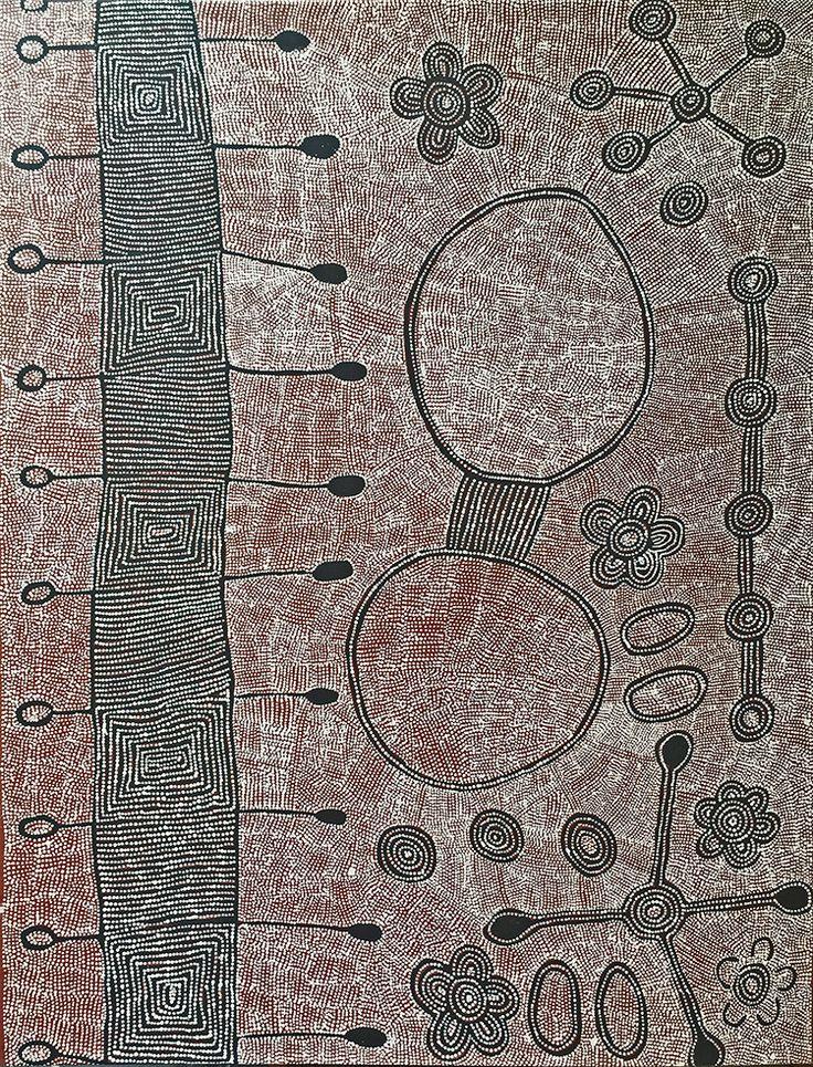 Yalti Napangati - Marrapinti nose bones ceremonies http://www.aboriginalsignature.com/art-aborigene-papunya-tula/yalti-napangati-marrapinti-nose-bones-ceremonies