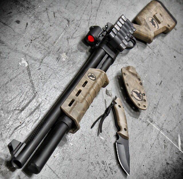 Shotgun, night hawk custom, 870, knife, guns, weapons, self defense, protection, 2nd amendment, America, firearms, munitions #guns #weapons