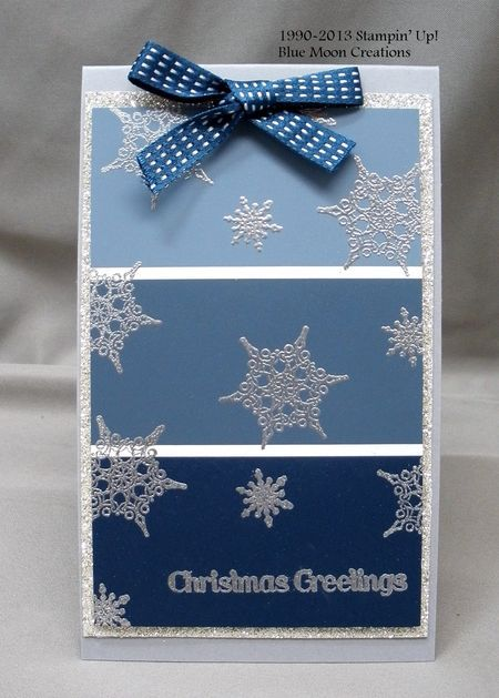 Silver and blues paint chip Christmas greetings