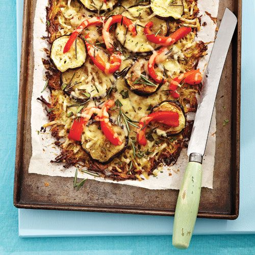 Potato crust pizza with roasted peppers and eggplant: Eggplants, Peppers, Food, Potatoes, Potato Crust Pizza, Pizza Recipes, Roasted Eggplant, Crusts