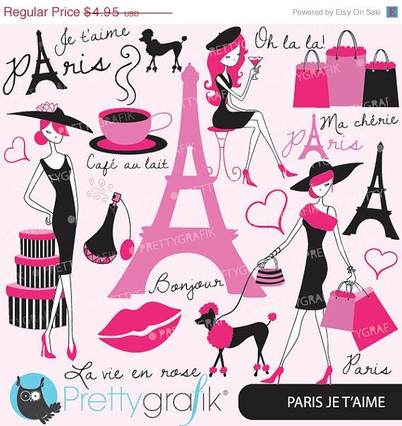 60% OFF SALE paris fashion clipart for scrapbooking, commercial use, vector graphics, digital clip art, images - CL556