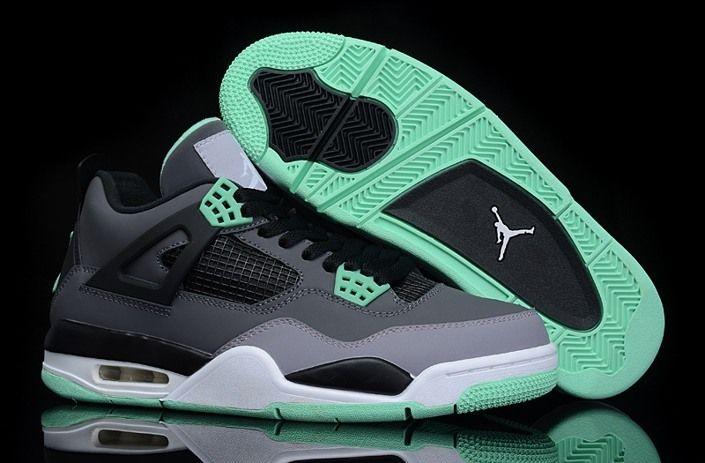2014 Nike Air Jordan 4 IV Retro New Release Shoes Grey Green
