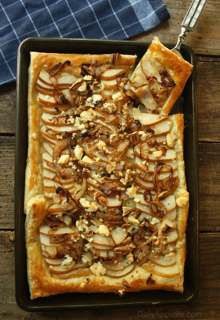 Pear Gorgonzola Cheese Tart with Caramelized Onions and Pecans