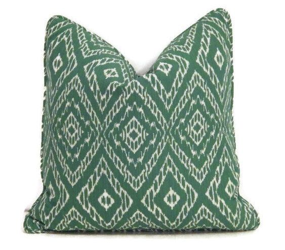 "Green Ikat 18"" Pillow Cover, Malachite Green Pillow Cover, Green and White Ikat Pillow, Modern Green Pillows by thehappyseamstress on Etsy https://www.etsy.com/listing/167042162/green-ikat-18-pillow-cover-malachite"