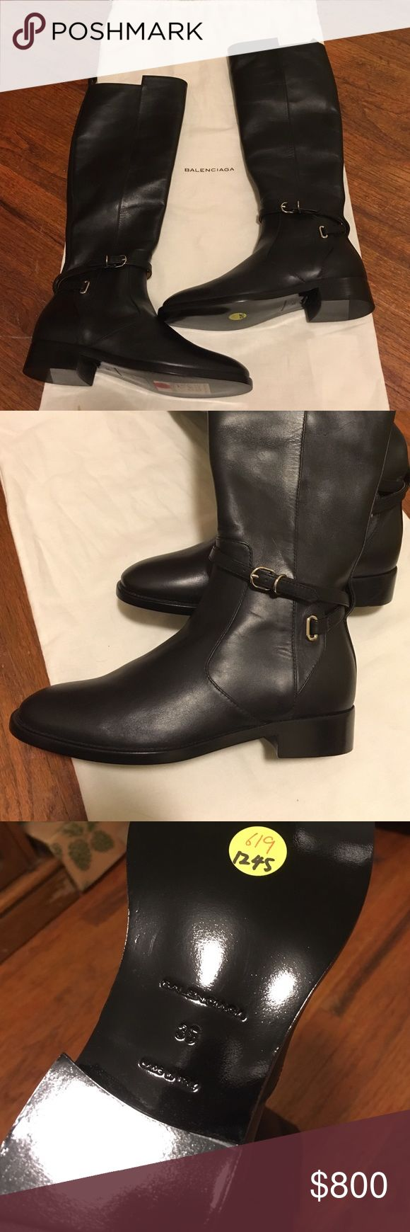 Balenciaga Papier buckled knee high boots This is brand new. Never been worn. Just tried on. With dust bag. No damage. Normal scratches due to storage. 100% authentic. From balenciaga store. Retail 1135 plus tax :) FINAL SALE! No returns! Balenciaga Shoes Over the Knee Boots