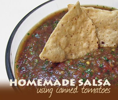 Homemade Salsa from Canned Tomatoes - best salsa EVER - AmandasCookin.com @amandaformaro