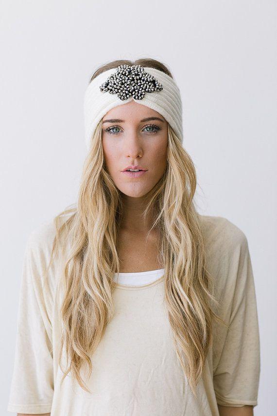Ivory Bohemian Knitted Headband Boho Cream Ear Warmer Free Spirited Women's Fashion Hair Accessories Hair Bands Photo Prop (HB-IvoryJewel)