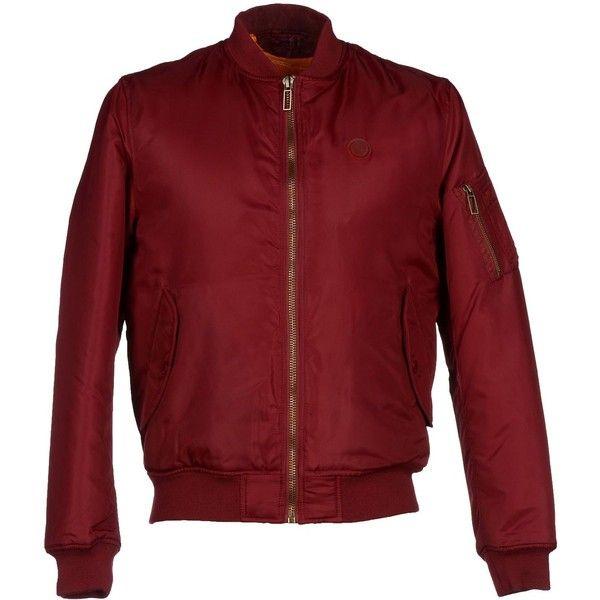 Takeshy Kurosawa Jacket (£125) ❤ liked on Polyvore featuring men's fashion, men's clothing, men's outerwear, men's jackets, maroon, mens zip up jackets, mens padded bomber jacket, mens padded jacket and mens bomber jacket