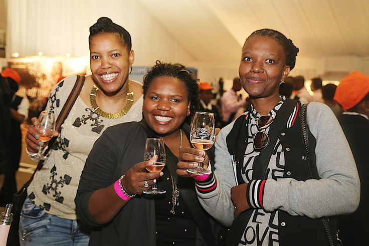 Busi, Nozizwe and Lindiwe raise their glasses to the 10th TOPS at SPAR Soweto Wine and Lifestyle Festival.