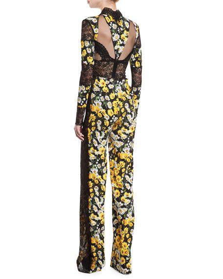 498260562d2f Daisy-Print Lace-Trim Jumpsuit Naeem Khan
