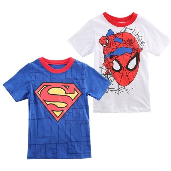 Cartoon Kids Baby Boys Superman T-Shirt Children Short Sleeve Tees Costume Tops