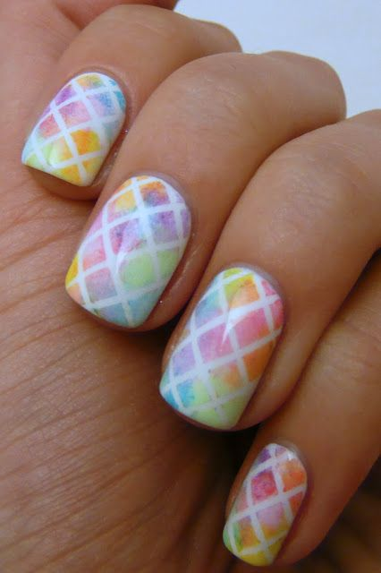 Geometric watercolor nails