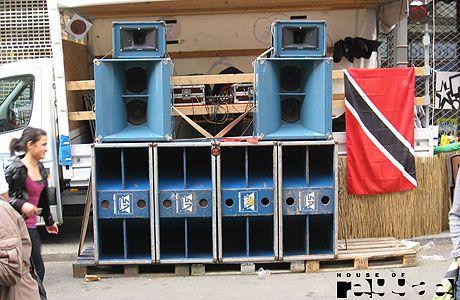 blue big ass sound system in front of a truck  Real Rock Hifi Soundsystem #music #reggae #soundsystem