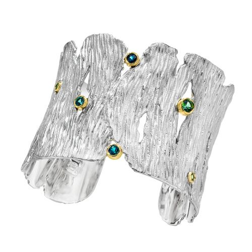 Silver Seagrass Cuff with Tourmalines by LJD Jewelry Designs