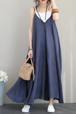 Fashion Sleeveless Strap Sundresses Women Linen Blue Clothes Q1193