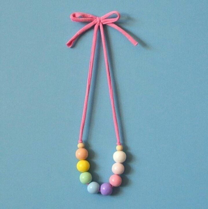 Pretty in Pastels children's necklace with bow (pictured) or safety clasp