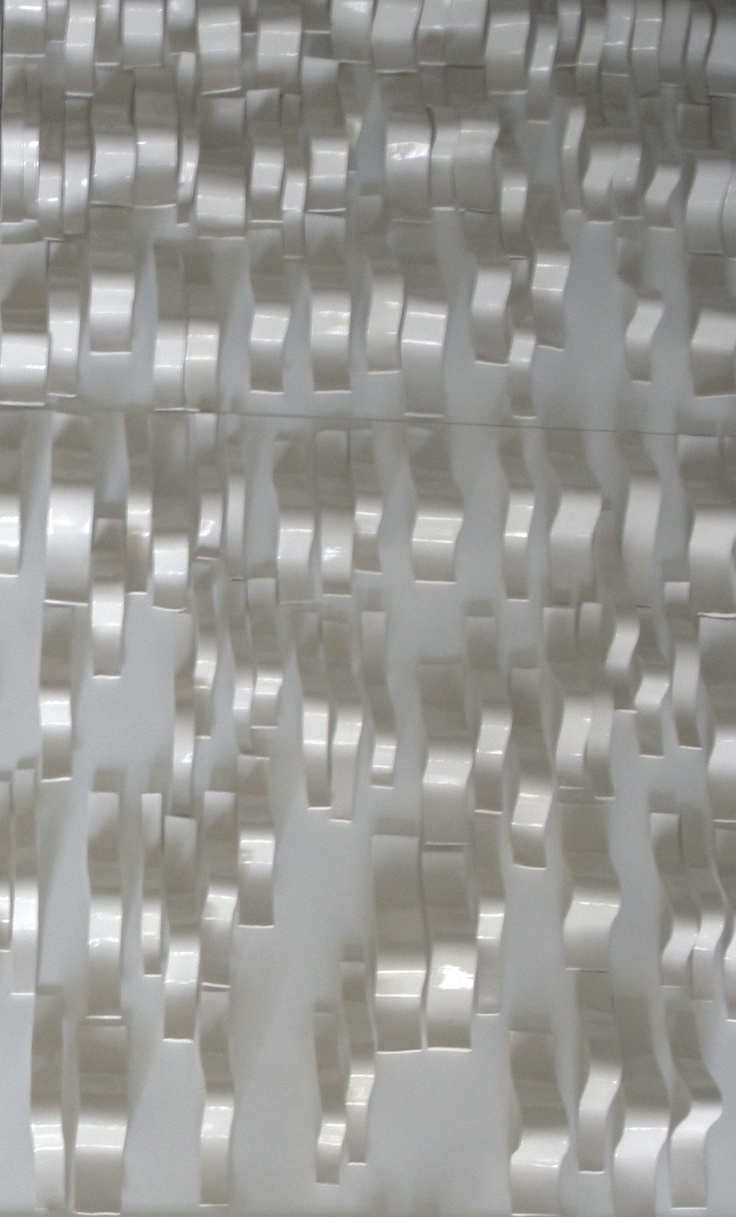 """WAVES, Porcelain.  (detail image 3).  Designed and attached onto a series of 24 x 24"""" panels for installation.  Katherine Dube 2000-2013."""