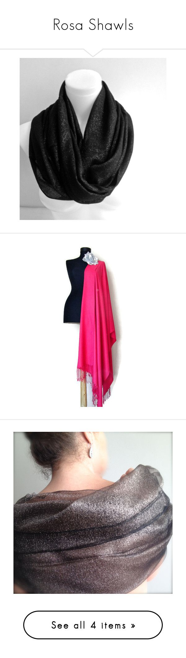 """""""Rosa Shawls"""" by funnfiber ❤ liked on Polyvore featuring accessories, scarves, holiday scarves, shawl scarves, metallic scarves, wrap scarves, wrap shawl, rosashawls, hot pink scarves and lightweight shawl"""