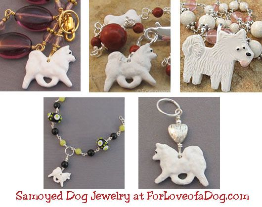 Handmade Samoyed dog jewelry gifts at ForLoveofaDog.com are on sale with free shipping.