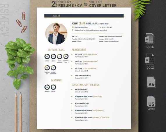 blue gold professional clean modern resume cv design template 2018 for microsoft word