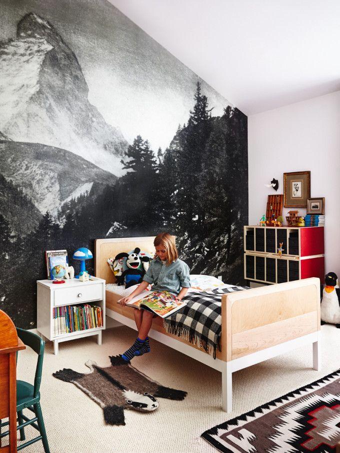 mountain mural in kids bedroom