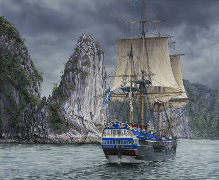 This painting has been composed to recreate a moment in the travels of the Tall Ship Gotheborg, on one of her trading adventures to East Asia. The Gotheborg was owned by the Swedish East India Company but sank in 1745 while approaching its home port. A full size replica has been built at the cost of $40 million dollars and has sailed the original voyage from Sweden to China. #painting #art #artwork #realism #hyperrealism #seascape #ship #marineart