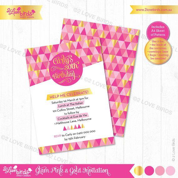Gold & Pink Geo Printable Invitation by 2LoveBirdsDesign on Etsy