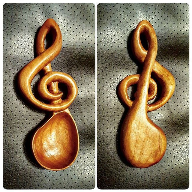 Treble Clef spoon 6 1/2 inches long. #wulfllc #wooddoodles #wood #handcarved #spoons #spoon #poplar #trebleclef #music #play #craftmanship #art #specialrequest #flexcutknives #Colorado #rockymountains #penrose #local #USA #cooking #chef #gourmet #uniqegift #food #serving #maker #carving #woodworker #canoncitycolorado #coloradosprings