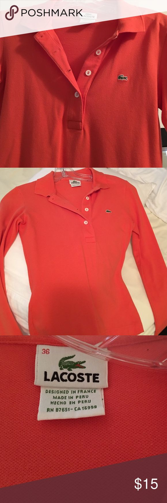 Lacoste long sleeve polo Lacoste polo size 36 which is a 2/4 in good condition Lacoste Tops Button Down Shirts