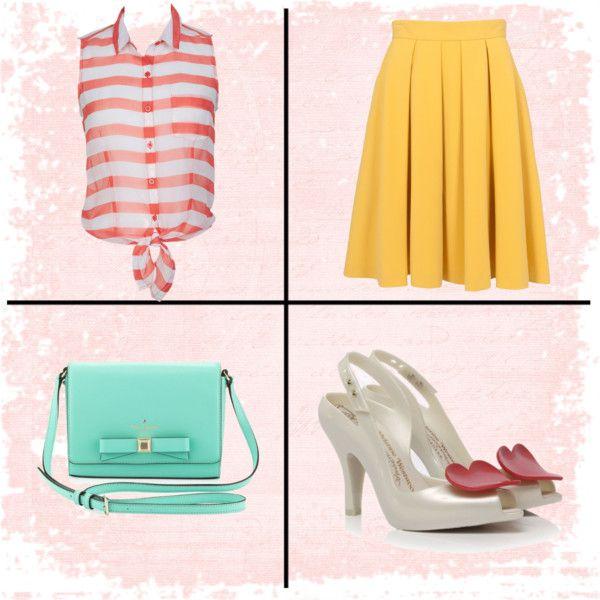 Spring color #spring #outfit #fashion #color #melissa #katespade
